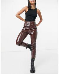 s t e e l e. Latex Skinny Trousers - Brown