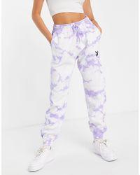 Missguided Playboy - jogger oversize d'ensemble à effet tie-dye - lilas - Violet