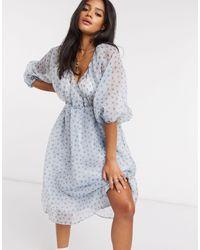 NA-KD - Синее Платье Мини Из Органзы С Цветочным Принтом -синий - Lyst