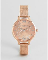 Olivia Burton - Ob16gd12 Celestial Mesh Boucle Watch In Rose Gold - Lyst