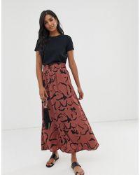 Vero Moda Scribble Print Maxi Skirt - Brown