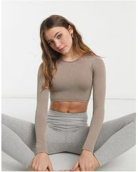 Pull&Bear Ribbed Long Sleeve Yoga Top - Multicolour
