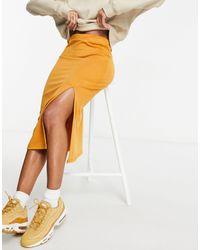 UNIQUE21 Трикотажная Юбка Миди Золотисто-коричневого Цвета С Разрезом -коричневый Цвет - Многоцветный