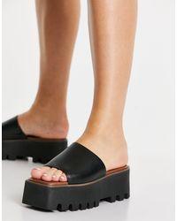 ASOS Type Premium Leather Flatform Mules - Black