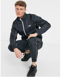 Jack & Jones Intelligence Tracksuit With Contrast Piping - Black