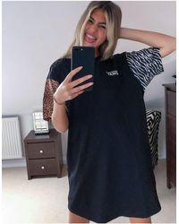 Vans Черное Платье-футболка Со Звериным Принтом Wyld Эксклюзивно Для Asos-черный - Многоцветный