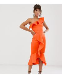 True Violet Exclusive One Shoulder Frill Bodycon Dress - Orange