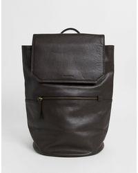 ASOS Кожаный Рюкзак Шоколадного Цвета С Внешним Карманом На Молнии - Коричневый