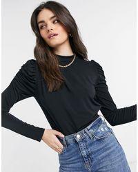 Vero Moda Slinky Bodysuit With Ruched Shoulder - Black