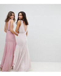 TFNC London - Wedding Bow Back Maxi Dress With High Low Hem - Lyst