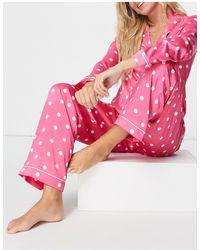 Chelsea Peers Розовая Атласная Премиум-пижама С Отложным Воротником И Принтом В Горошек -розовый Цвет