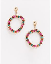 Accessorize Jewelled Drop Hoop Earrings - Multicolour
