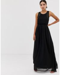 AX Paris Tulle Maxi Dress With Embellished Detail - Black