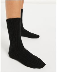 & Other Stories Cosy Cable Knit Socks - Black