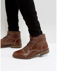 New Look - Military Lace Up Boots In Brown - Lyst