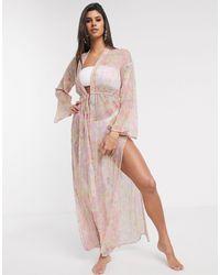 ASOS Tie Front Maxi Beach Kimono - Pink