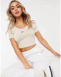 Nike Essentials Short Sleeve Crop Top - Natural
