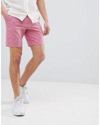 ASOS - Slim Mid Length Smart Shorts In Rose Pink - Lyst