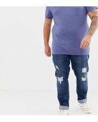 Jacamo Plus Rip & Repair Jeans In Indigo Wash - Blue