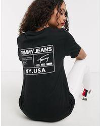 Tommy Hilfiger Черная Футболка С Логотипом На Спине -черный