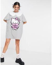 New Girl Order Curve x Hello Kitty - Vestito camicia oversize con colletto vintage a contrasto - Grigio