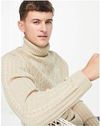ASOS Cable Knit Roll Neck Jumper - Natural
