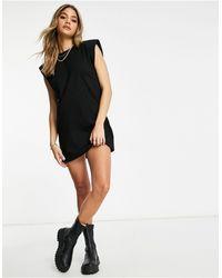 Naanaa Padded Shoulder T-shirt Dress - Black