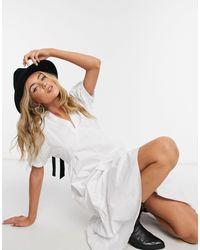 TOPSHOP Robe en popeline avec liens à nouer contrastants - Blanc