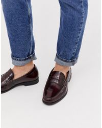 Ben Sherman Wide Fit Leather Penny Loafer In Bordo - Red