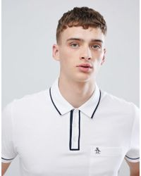 Original Penguin - Slim Fit Tipped Pique Polo With Logo In White - Lyst