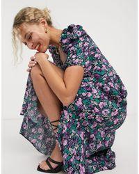 & Other Stories Miami floral bold shoulder midi dress - Blu