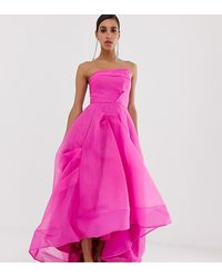 Bariano Full Maxi Dress With Organza Bust Detail In Fuchsia - Pink