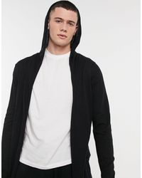 ASOS Hooded Open Front Cardigan With Curved Hem - Black