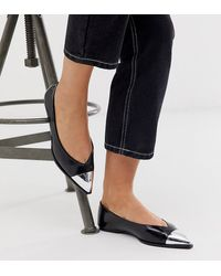 ASOS Wide Fit Logan Pointed Ballet Flats With Toe Cap - Black