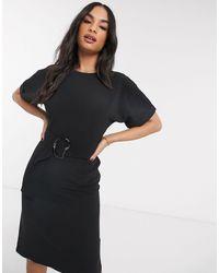 Warehouse Buckle Soft Shift Dress - Black