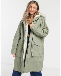 ASOS Faux Fur Lined Parka - Green