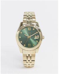 Fossil Mini Scarlett Gold Metal Bracelet Watch With Green Dial Es4903-золотой - Металлик