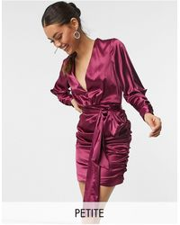 Chi Chi London Long Sleeve Ruched Satin Wrap Mini Dress - Pink