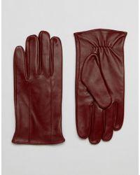 Barneys Originals Barneys Leather Gloves In Oxblood - Red