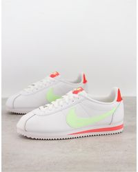 Nike Classic Cortez Trainers With Yellow Swoosh-white