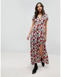 Wyldr - Rose Printed Maxi Dress With Capped Sleeves And Deep V Neckline - Lyst