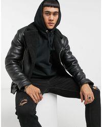 Bershka Черная Байкерская Куртка Из Искусственной Кожи С Воротником «борг» -черный Цвет