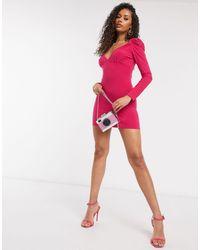 I Saw It First Milkmaid Puff Sleeve Dress - Pink