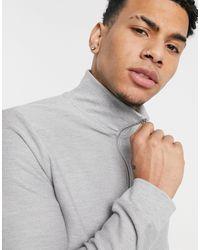 TOPMAN – Sweatshirt aus Twill mit kurzem Reißverschluss - Grau