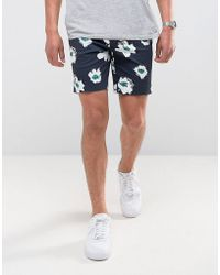 ASOS - Asos Slim Mid Smart Shorts With Blue Floral Print - Lyst