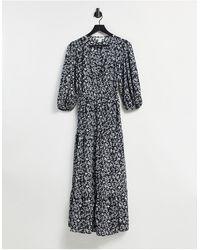 Glamorous Платье Миди С Запахом, Ярусной Юбкой И Мелким Винтажным Цветочным Принтом -черный Цвет