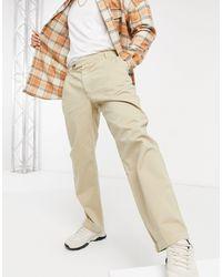 TOPMAN Belted Wide Leg Trousers - Grey