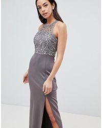 AX Paris - Lace Upper Maxi Dress With Side Slit - Lyst