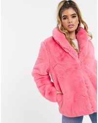 Missguided Розовое Меховое Oversize-пальто -розовый