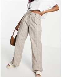 Motel High Waisted Wide Leg Trousers - Multicolour